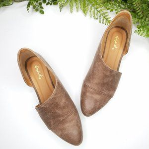 Qupid taupe cutout flat booties